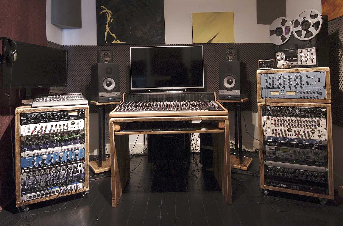reclaimed wood recording studio