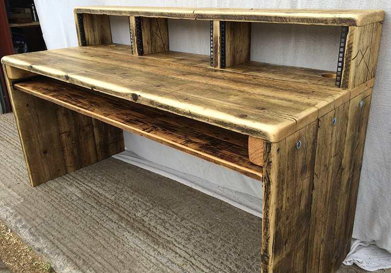 reclaimed wood studio desks with monitor bridge