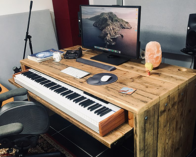 Computer desk made from reclaimed wood
