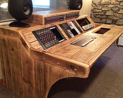 Custom studio desk built from reclaimed wood