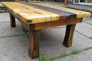 Slate, teak and oak coffee table