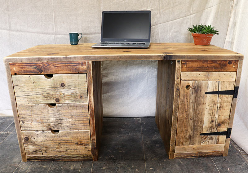 Chunky computer desk made from reclaimed wood