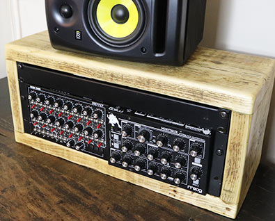 4u 19 inch rack pod made from reclaimed wood