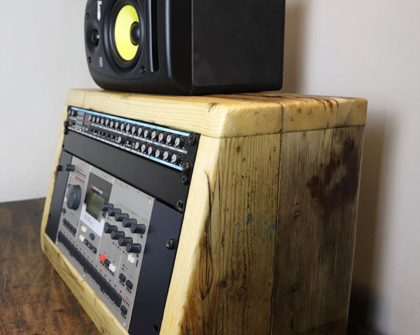 6u 19 inch angled rack unit made from reclaimed wood