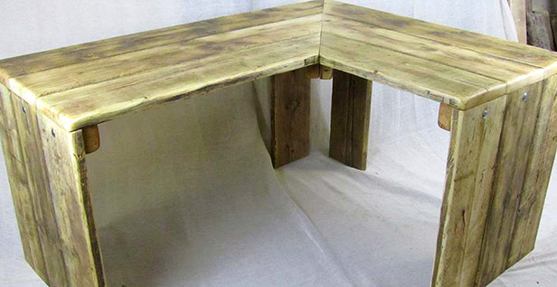 Corner desk reclaimed wood