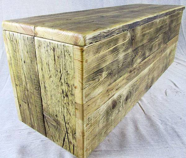Storage chest made from reclaimed wood