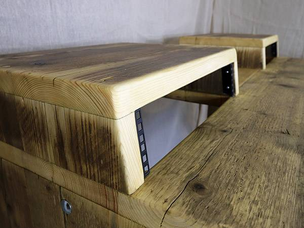 Custom desk built from reclaimed wood