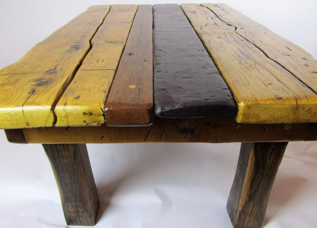 Slate, teak and oak coffee table