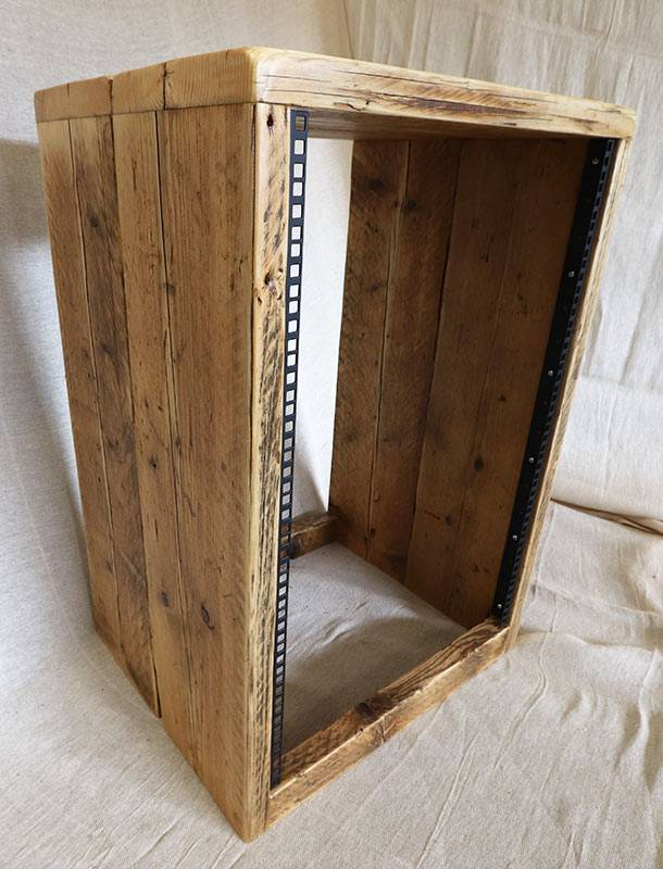 16u 19 inch rack cabinet built from reclaimed wood