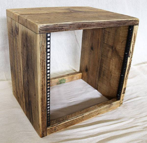 10u 19 inch rack cabinet made from reclaimed wood