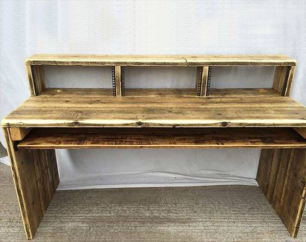Recording studio desk made from reclaimed wood