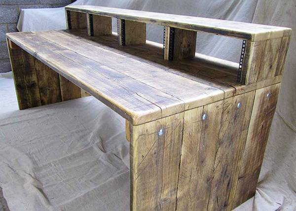 4 bay studio desk made from reclaimed wood