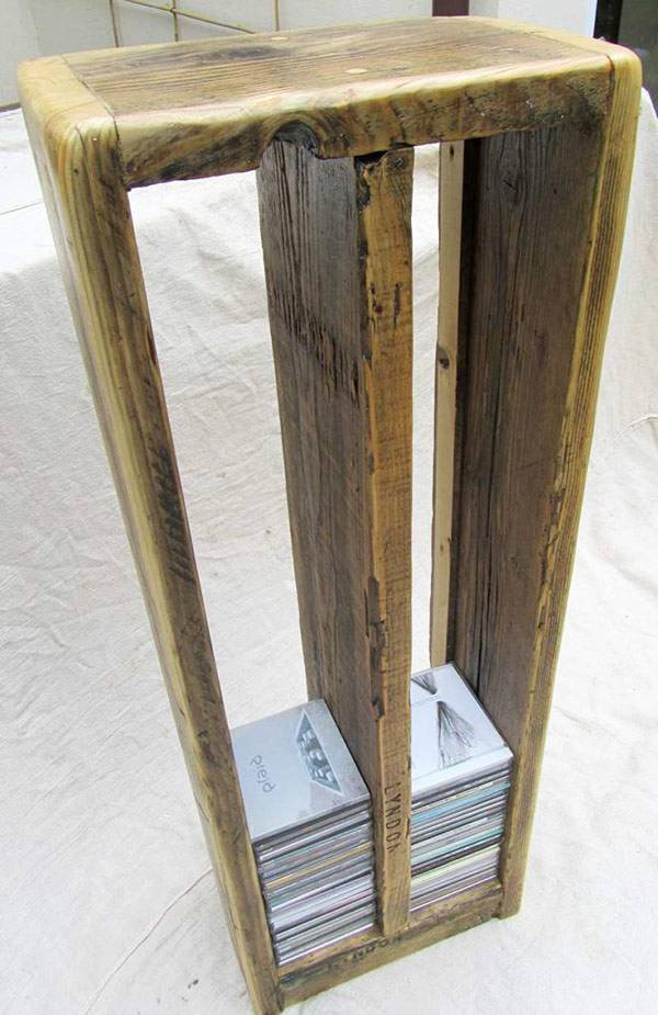 CD rack made from reclaimed wood