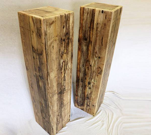 Speaker stands made from reclaimed wood