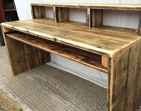 Music studio desk made from reclaimed wood