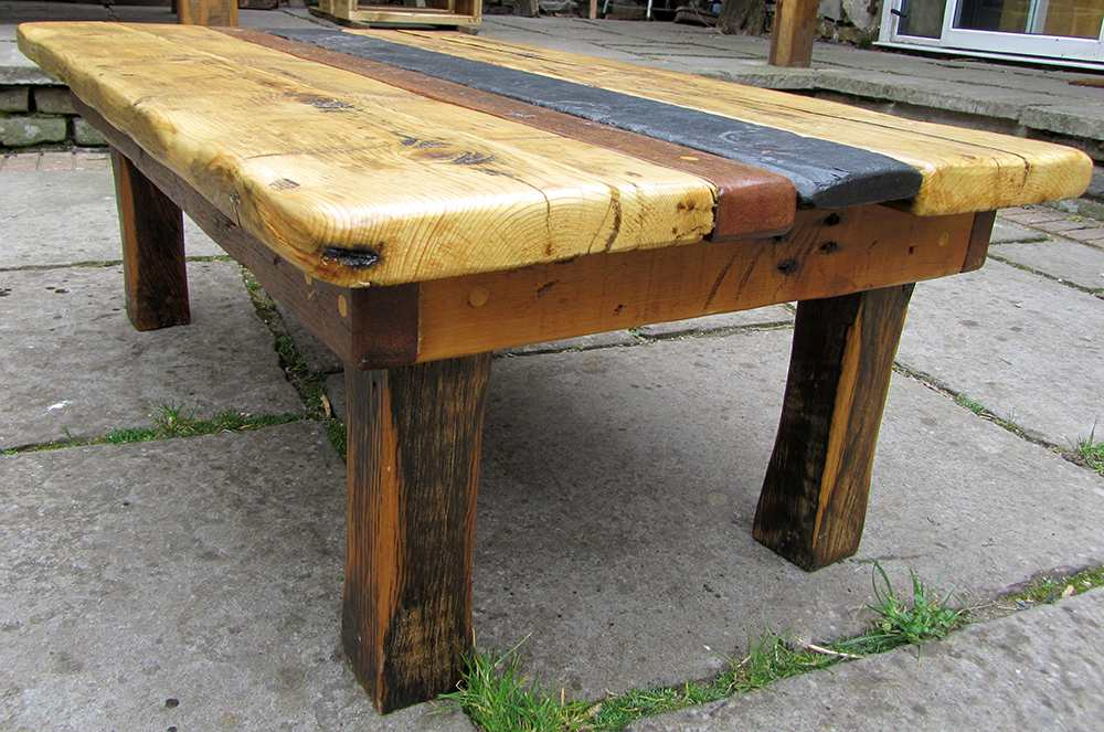 Slate, teak and pine topped reclaimed wood coffee table