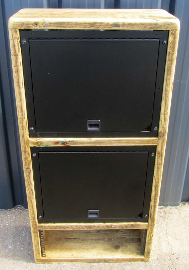 reclaimed wood 19 inch storage rack
