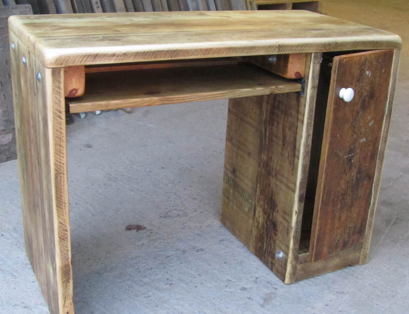 Desk with cupboard and shelf