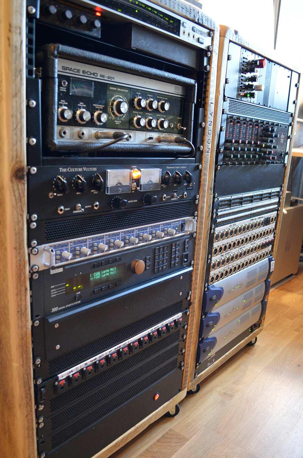 reclaimed wood studio racks
