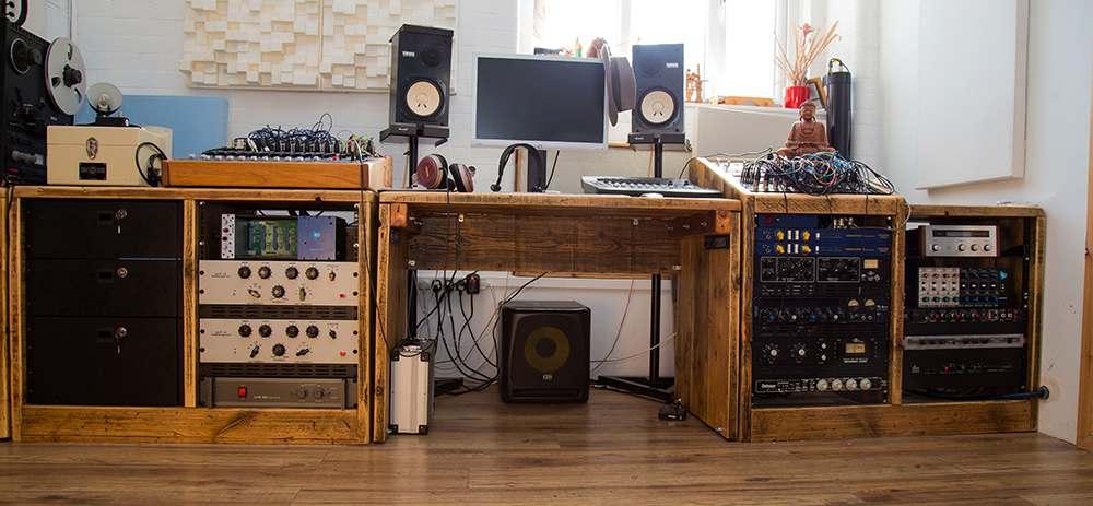 Reclaimed wood studio setup