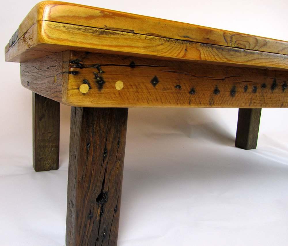 reclaimed wood chunky coffee table