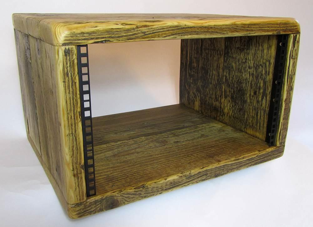 "6u reclaimed wood 19"" studio rack"