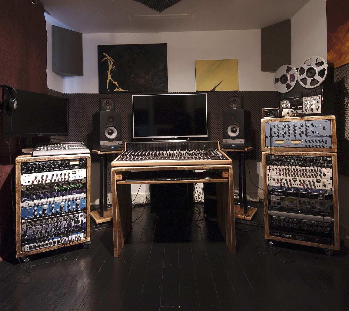 reclaimed wood studio racks and desk