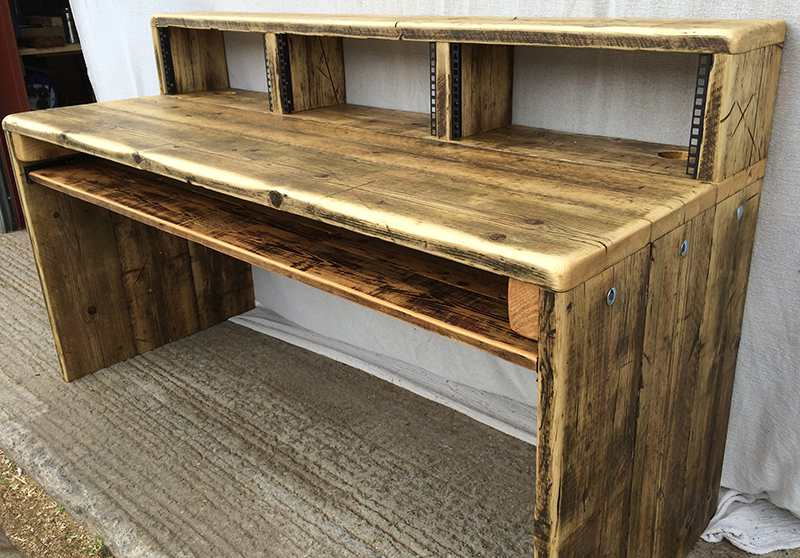 reclaimed wood studio desks with monitor bridge
