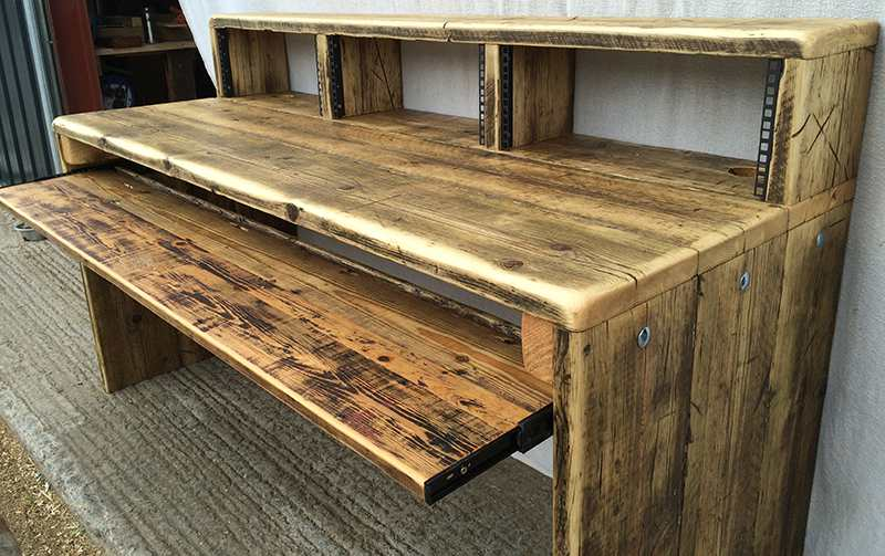 Recording studio desks made from reclaimed wood